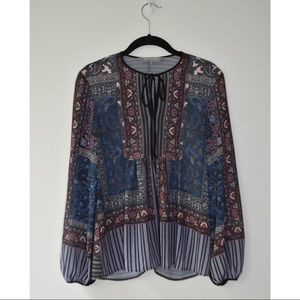 Clover Canyon Paisley and Stripe Blouse w/ Floral